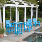 Shellback Adirondack balcony/counter chair set in teal